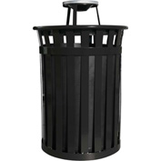 Oakley 50 Gallon Slatted Steel Receptacle w/Ash Top, Black - M5001-AT-BK