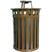 Oakley 50 Gallon Slatted Steel Receptacle w/Ash Top, Brown - M5001-AT-BN