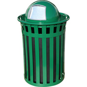 Oakley 50 Gallon Slatted Steel Receptacle w/Dome Top, Green - M5001-DT-GN