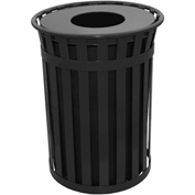 Oakley 50 Gallon Slatted Steel Receptacle w/Flat Top, Black - M5001-FT-BK