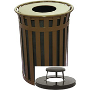 Oakley 50 Gallon Slatted Steel Receptacle w/Raincap Top, Brown - M5001-RC-BN