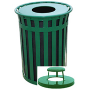 Oakley 50 Gallon Slatted Steel Receptacle w/Raincap Top, Green - M5001-RC-GN