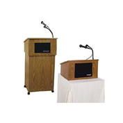 Wireless Tabletop Podium / Lectern with Cordless Sound System, Medium Oak