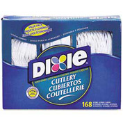 Dixie Foods DXECM168 - Cutlery Combo, Forks/Knives/Spoons, Plastic, 168/Box, White
