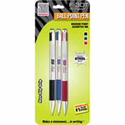 Zebra Retractable Ballpoint Pen F-301 - Assorted Ink - 3 Pack
