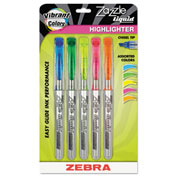 Zebra Zazzle Liquid Ink Highlighter - Chisel Tip - Assorted Colors - 5 Pack