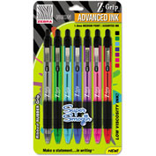 Zebra Z-Grip Neon Retractable Ballpoint Pen, 1.0 mm, Medium, Assorted, 7/Set