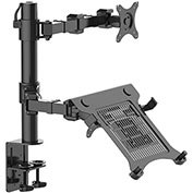 "Fleximounts 2-in-1 Full Motion Dual Arm Desk Mounts for 10""-27"" Monitors & Laptop"