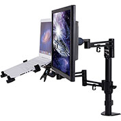 "Loctek 2-in-1 Dual Monitor Arm Desk Mount Stand for 10""-27"" LCD & 11 to 15.6"" Laptop"
