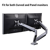 "Loctek Dual Desktop LCD Arm Mount for Two 10""-34"" Standard and Curved Monitors - Silver"