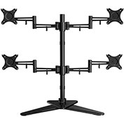 "Loctek Full Motion Free Standing Quad Monitor Arm Desk Mount Stand, For 10-27"" LCD Screens"