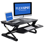 FlexiSpot Adjustable Sit-Stand Desktop Riser Workstation, Removable Keyboard Tray, Black