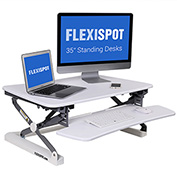 FlexiSpot Adjustable Sit-Stand Desktop Riser Workstation, Removable Keyboard Tray, White