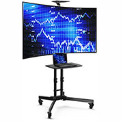 "Loctek Universal Curved TV Cart Mobile Stand for LED/LCD/Plasma HD 4K Screen 32""-65"" Monitors"