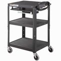 Global Industrial™ Steel Mobile Workstation Cart with Slide out keyboard & Mouse Shelf - Black