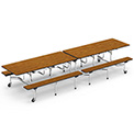 "Virco® Cafeteria Table with Benches - 144""L - Oak Top"