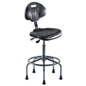 "Ergonomic Stool - Polyurethane - Pneumatic 23"" - 28"" - Black"