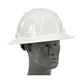 ERB™ 19911 Omega II Full Brim Hard Hat, 6-Point Ratchet Suspension, White