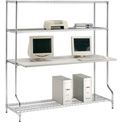 "Nexel™ 4-Shelf Wire Computer LAN Workstation, 72""W x 30""D x 74""H, Chrome"
