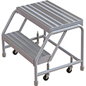 "2 Step Aluminum Rolling Ladder, 16""W Ribbed Step, W/O Handrails"