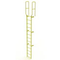 13 Step Steel Walk Through With Handrails Fixed Access Ladder, Yellow - WLFS0213-Y
