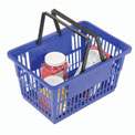 "Plastic Shopping Basket with Plastic Handle, Large, 19-3/8""L X 13-1/4""W X 10""H, Blue, Good L ® - Pkg Qty 12"