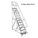 """16 Step 24""""W 10""""D Top Step Steel Rolling Ladder - Perforated Tread"""