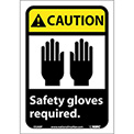 "Graphic Signs - Caution Safety Gloves Required - Vinyl 7""W X 10""H"