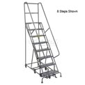 11 Step Steel Easy Turn Rolling Ladder - Safety Angle