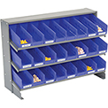 3 Shelf Bench Pick Rack With 24 Blue Shelf Bins 4 Inch Wide 33x12x21