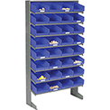 8 Shelf Floor Pick Rack With 32 Blue Plastic Shelf Bins 8 Inch Wide 33x12x61