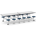 "Virco® Folding Mobile Cafeteria Table with Seats - 120""L - Gray Nebula Top - 12 Navy Seats"
