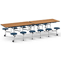 "Virco® Folding Mobile Cafeteria Table with Seats - 120""L - Medium Oak Top - 12 Black Seats"
