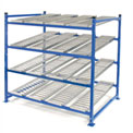 "UNEX Flow Cell Heavy Duty Gravity Rack Starter 72""W x 48""D x 72""H with 4 Levels"