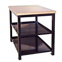 24 X 36 X 30 Double Shelf Shop Stand - Maple - Black