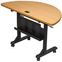 "Balt® Half Round Flipper Training Table - 48"" x 24"" - Teak"