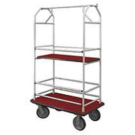 Glaro Bellman Condo Cart 40x25 Satin Aluminim Burgundy Carpet, 4 Rubber Wheels