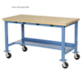 "72""W x 36""D Mobile Production Workbench with Power Apron - Maple Butcher Block Safety Edge - Blue"