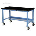 "72""W x 30""D Mobile Production Workbench with Power Apron - Phenolic Resin Safety Edge - Blue"