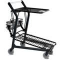 VersaCart® Retractable Flat Top Shelf Shopping Cart Dark Gray 101-580-DGY