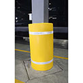 "44""H X 36""W Soft Nylon Column Protector -  Yellow Cover/White Tapes - Pkg Qty 6"