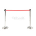 "Crowd Control Stanchion, 39""H Stainless Steel Post, 7-1/2' Red Retractable Belt - Pkg Qty 2"