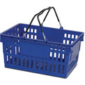 VersaCart ® Blue Plastic Shopping Basket 26 Liter With Black Plastic Grips Wire Handle - Pkg Qty 12