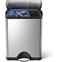 simplehuman® CW1830 Rectangular Recycling Step Can - 12 (8/4) Gallon Brushed SS