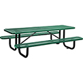 "96"" Rectangular Expanded Metal Picnic Table Green"