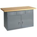 "60""W x 30""D Maple Top Heavy Duty 3 Drawer/2 Cabinet Workbench"