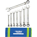 Global™ Industrial 8 Piece SAE Reversible Ratcheting Wrench Set in Mesh Pouch