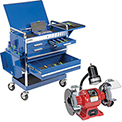 Sunex Tools 8045BL Professional 5 Drawer Blue Tool Cart W/ Locking Top & FREE Bench Grinder