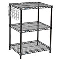"Nexel™ 3-Shelf Black Wire Shelf Printer Stand with Document Holder, 24""W x 18""D x 34""H"