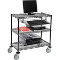 "Nexel™ 3-Shelf Mobile Wire Computer LAN Workstation w/Keyboard Tray, 36""W x 18""D x 40""H, Black"